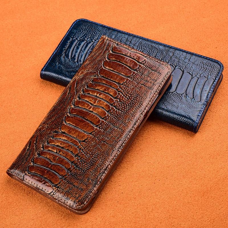 Ostrich Foot Grain Stand Flip Case For Xiaomi Redmi Note 3 4 4X 5 5A 6 7 8 8T Pro 8A Cover Genuine Cowhide Leather Phone Case