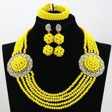 Fait à la main! Splendide ensemble de bijoux indien en cristal jaune moutarde de 5 rangées, ensembles de collier épais pour femmes, livraison gratuite HX836