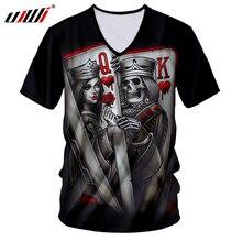 UJWI Summer Tops Men Skull Tshirt Cool Print Queen And King Poker 3D T-shirts Man Short Sleeve V-neck Tee Shirts Unisex Harajuku