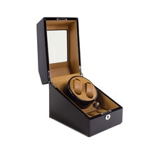 Watch Winder ,LT Wooden Automatic Rotation 2+3 Watch Winder Storage Case Display Box black-yellow