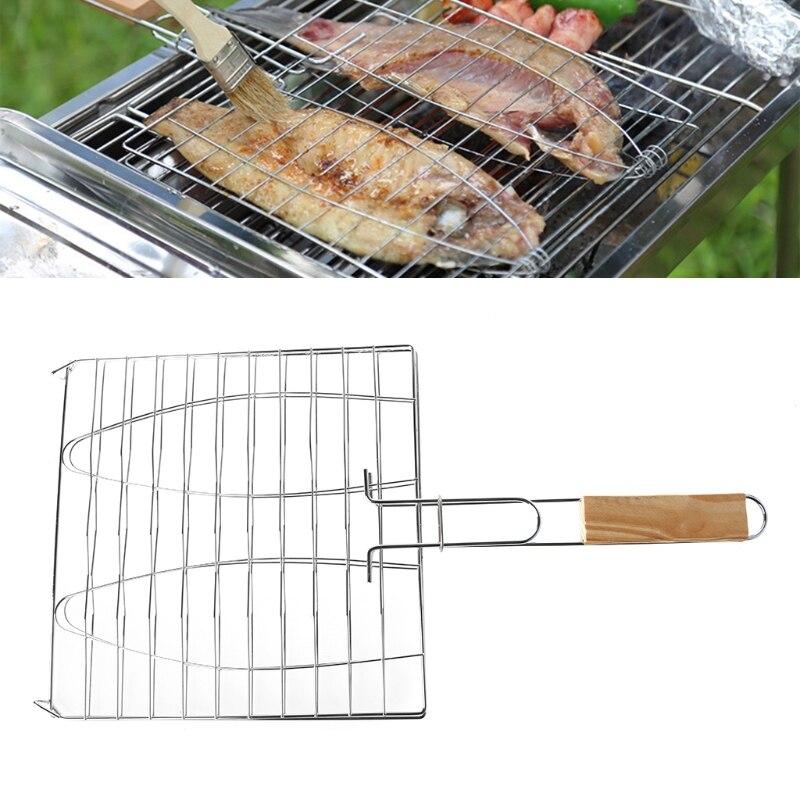 Nuevo plata parrilla cesta barbacoa parrilla cesta parrilla Red de madera mango carne pescado verduras herramientas