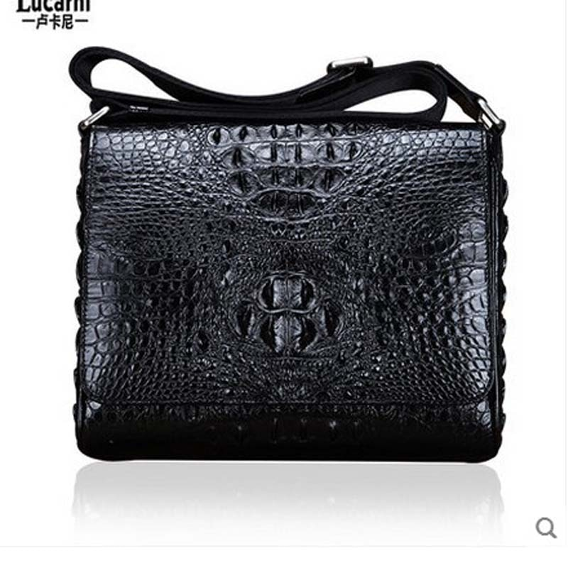 lukani Crocodile leather man's single shoulder strap leather strap with a head scarf for casual business men bag