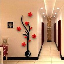 Vase à fleurs coloré 5 tailles 3D acrylique   Autocollant mural de décoration, affiche artistique murale bricolage, décoration de maison, bâton mural de chambre à coucher
