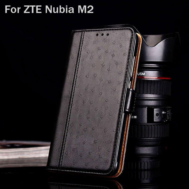 Para zte nubia m2 caso de couro de avestruz luxo com suporte moda hit cor casos telefone para zte nubia m2 funda flip capa coque