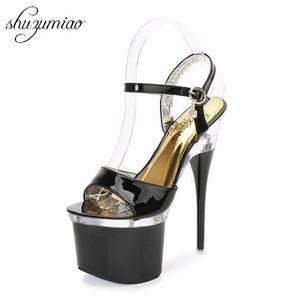 Steel Pipe Dance Shoes 2019 New Women Sandals Summer Sexy High-heels 18cm Thick Soles Waterproof Model Catwalk Shoes Size 35-39