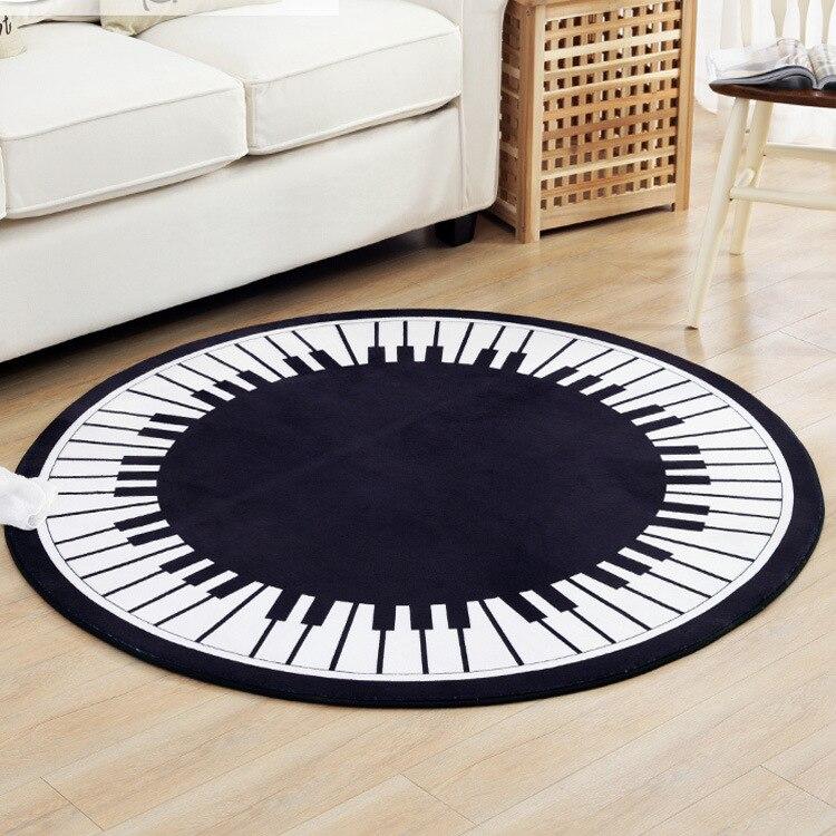 Teclado de Piano, alfombra redonda de diámetro 80/100/120/150 CM, alfombras de salón, alfombras antideslizantes para baño, sala de estar alfombras para, sillas, tapis chambre