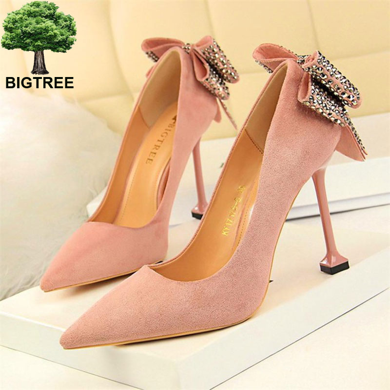 BIGTREE Sweet Crystal Butterfly-knot Women Pumps Solid Flock Fashion Shallow High Heels Shoes Women's Party Shoe Pointed Toe dijigirls recommend sheep skin summer women pumps patterns leather mixed color metal high heels pointed toe shallow shoes