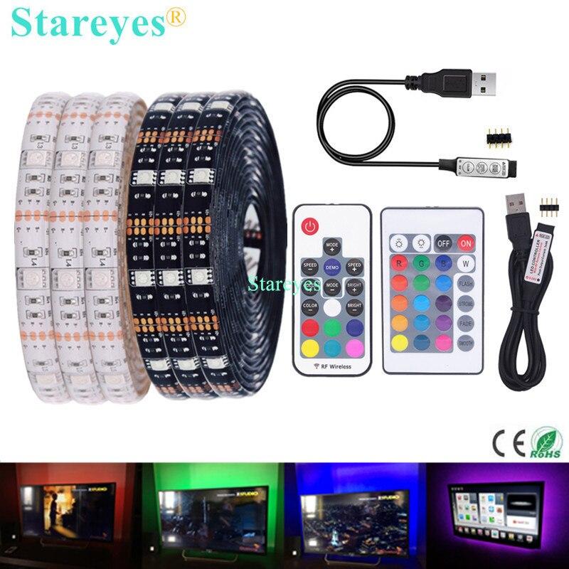 SMD 5050 RGB Светодиодная лента DC 5 В USB Светодиодная лента Гибкая IP20 IP65 водонепроницаемая лента 1 м 2 м 3 м 4 м 5 м добавить пульт дистанционного управления для ТВ фона