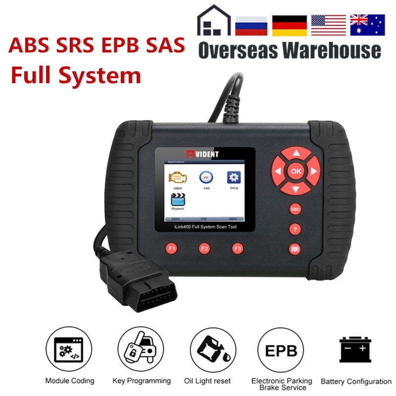 Vident iLink400 Full System Diagnostic Tool Scanner 12V OBDII ABS SRS EPB Transmission DPF Reset TPS Better Than NT510 Update
