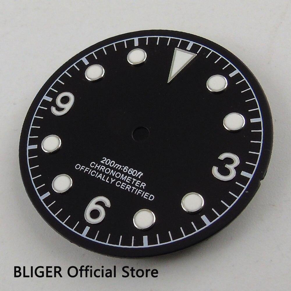 Clásico de 30,4mm negro estéril Dial luminoso marcas esfera del reloj FIT para ETA 2824 2836 Miyota 8215 8205 movimiento automático D54