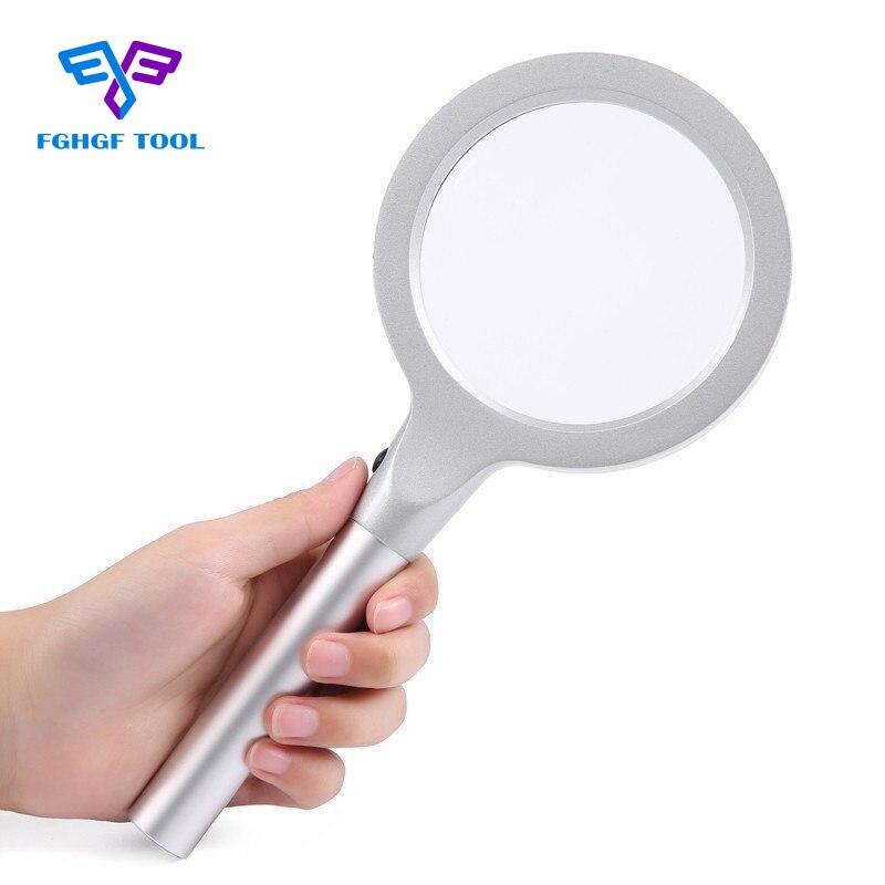 FGHGF Hohe Qualität 55mm 5X Lupe Tragbaren Handheld Glas Lupe Hand Vergrößerungs Tool12 LED Licht Lampe Mit