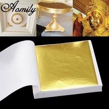 Aomily 9x9cm 100 feuilles pratique K Pure feuille dor brillant pour dorure lignes de meubles mur artisanat artisanat dorure décoration