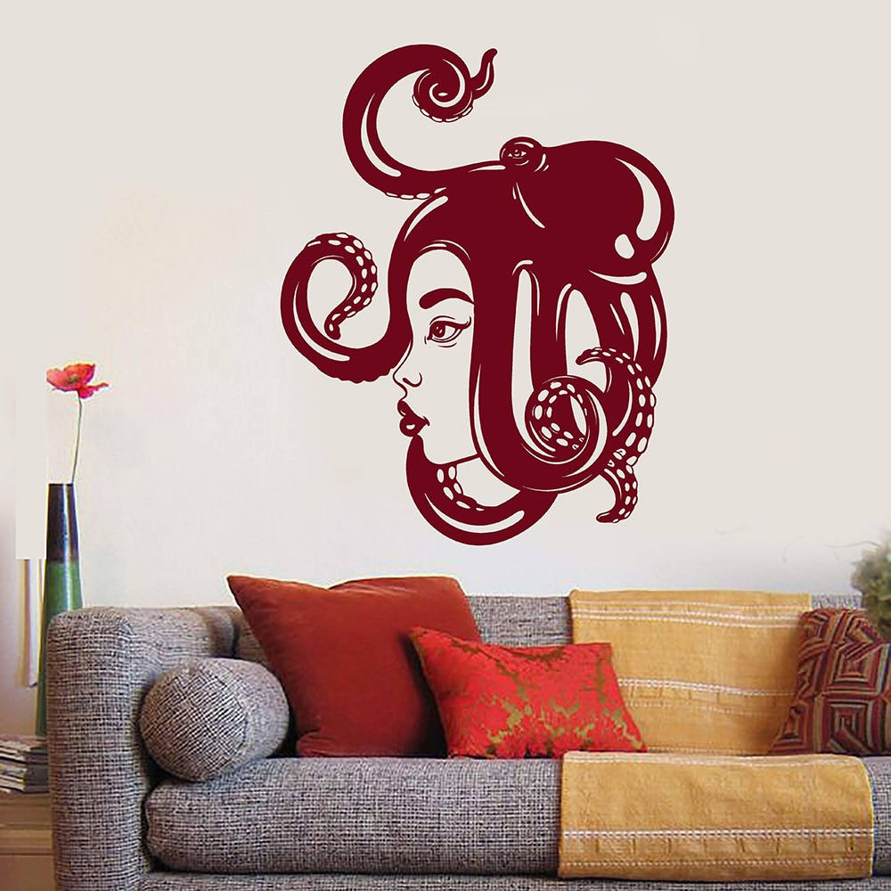 Asian Girl Rosto Mar Polvo Na Cabeça Decalque Da Parede Do Vinil Home Decor Quarto Art Mural Adesivos de Parede