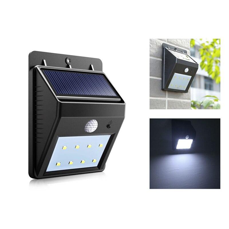 Farola LED de energía Solar lámpara con Sensor de movimiento Panel impermeable PIR decoración de jardín iluminación camino exterior luces de pared