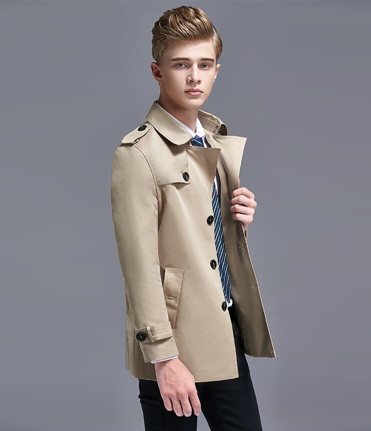 Gabardina para hombre, abrigo de un solo pecho de Inglaterra para hombre, ropa ajustada para hombre, abrigo corto de manga larga 2020, nuevo diseñador para primavera