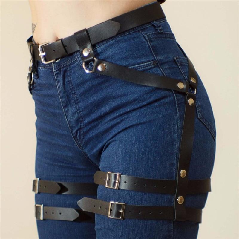 Women's Belt For Stocking Garters Female Faux Leather Harness Leg Cage Body Bondage Adjustable Harajuku Accessories Garter