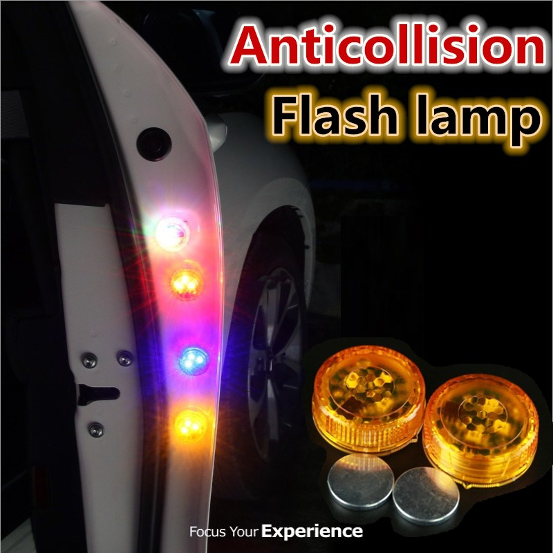 2PCs Wireless Magnetic LED Car Door Opening Warning Light Bulb Strobe Flash Waterproof Anti Rear-end Collision Safety Lamp