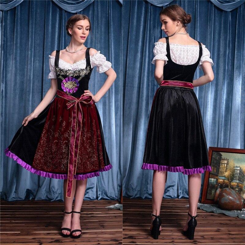 Vestido del Oktoberfest para mujer, disfraz atractivo de lujo para adultos, fiesta de la cerveza, Vestido largo de la criada del Festival, Cosplay de fantasía 2017