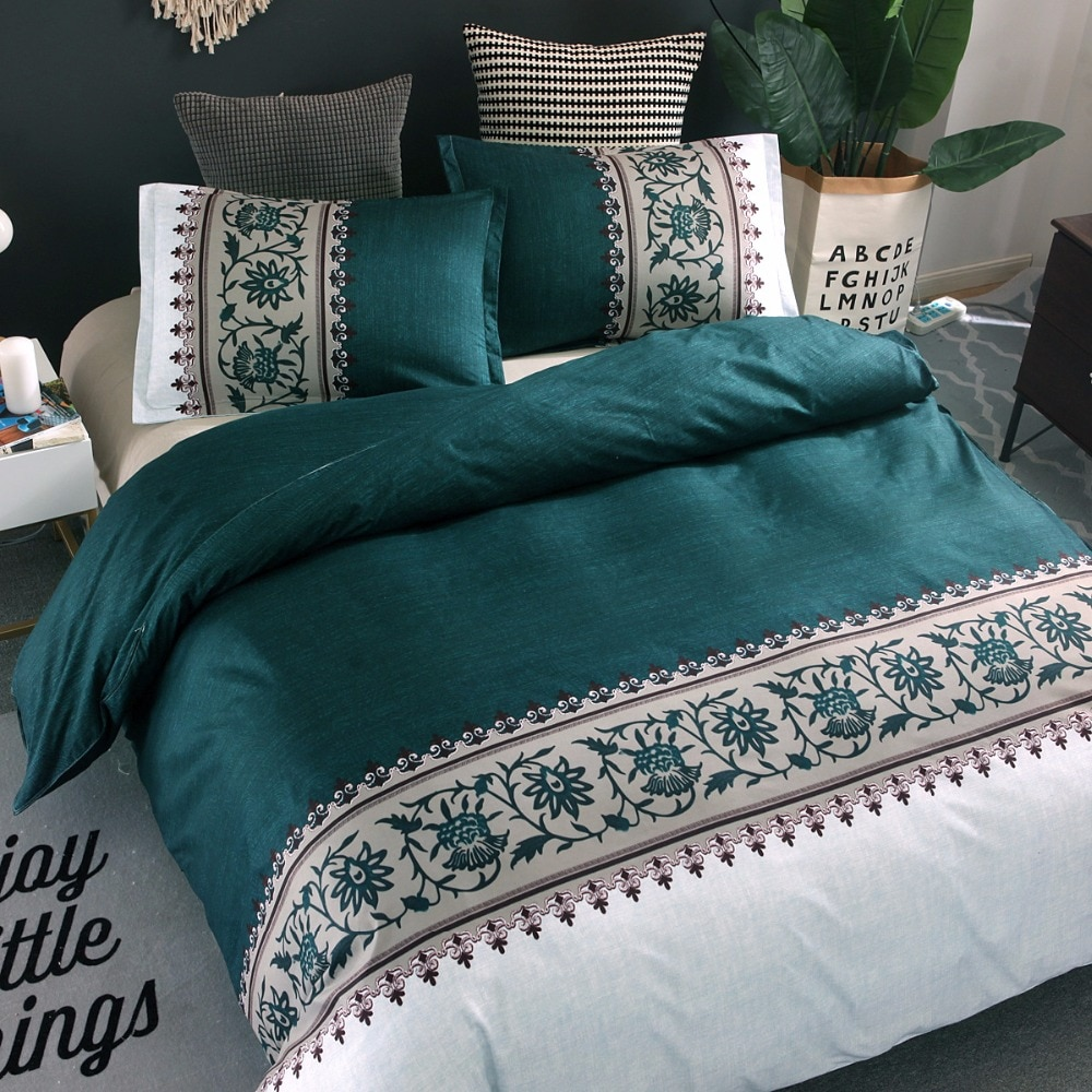American style bedding set elegance duvet cover set 2 or 3pcs/set Green Bed linens AU, EU double bedclothes pillowcase 200*200