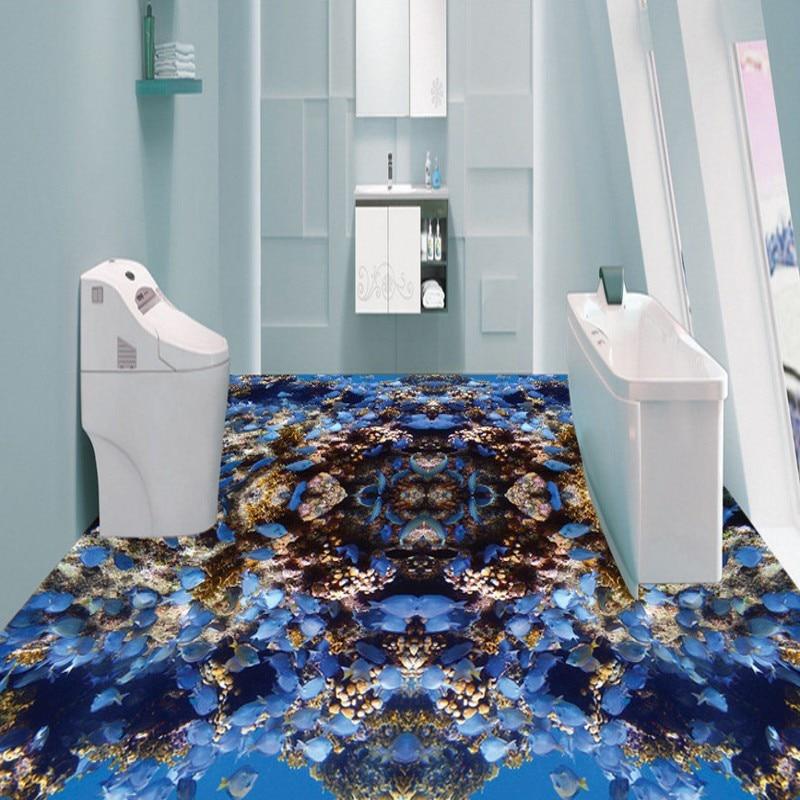 Envío Gratis caleidoscopio de arrecife de peces pequeños azules papel pintado de suelo pasillo autoadhesivo desgaste mural para piso