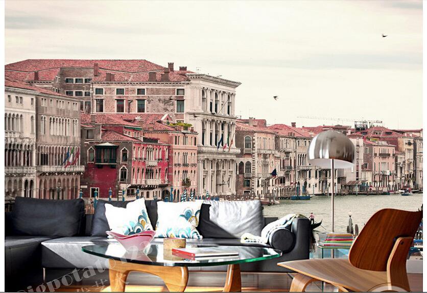 3d обои на заказ фото Нетканая настенная наклейка 3 d романтическая Венецианская портовая картина обои для стен 3d