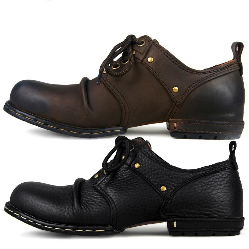 OTTO ZONE-أحذية جلدية أصلية مصنوعة يدويًا للرجال ، أحذية مسطحة برشام ، أحذية برباط غير رسمية ، أحذية أساسية