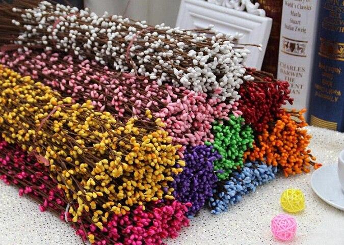 100 piezas 40 cm corona Artificial flor pequeña baya de ratán Pip Berry Garland para decoración de banquete de boda de fiesta DIY