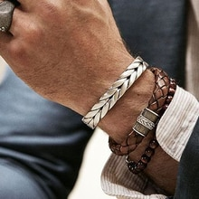 Hommes Bracelets/acier inoxydable/Vintage/cuir/mode/Bracelets Bracelets tressage torsadé titane fils manchette bracelet prix incroyable