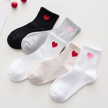 New Fashion Korean Women Girls Cute Cotton Crew Socks Heart Pattern Harajuku Funny Casual  Novelty Art Sox Gift