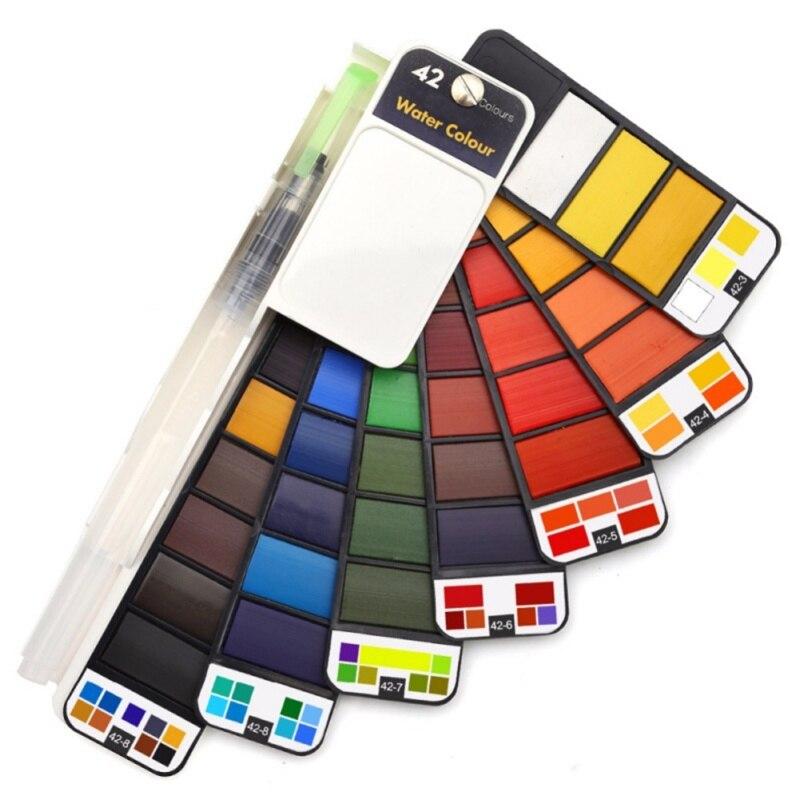 18/25/33/42 couleurs ensemble de peinture professionnel pliable aquarelle ensemble de peinture avec pinceau pliable voyage couleur Pigment pour la peinture