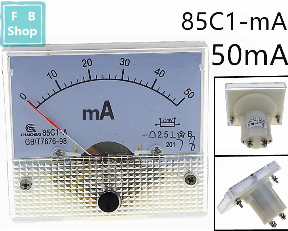 1 Uds 85C1-mA 50mA DC puntero amperímetro serie 85C1 Amperímetro analógico tamaño 64*56mm