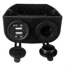 TOYL Dual Boat Caravan Car USB Cigarette Lighter Socket Splitter 12V Charger Adapter