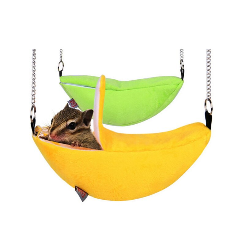 Sofás cálidos gato durmiendo hámsteres Perrera de la casa Gato Casa de perro cama Linda forma de Banana Mini gatito cachorro casa nido