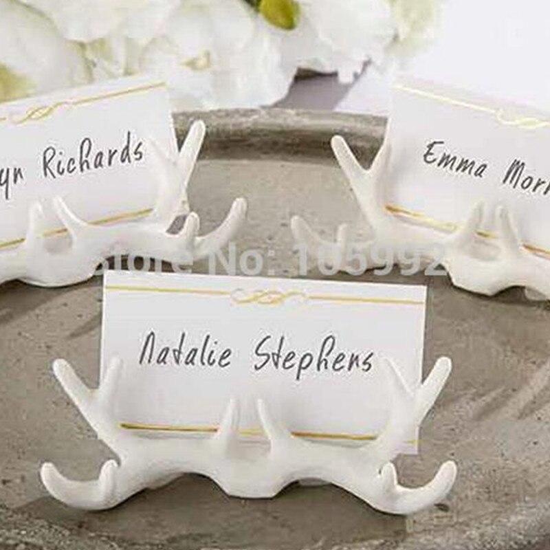 Tomada de fábrica vendendo presente de casamento resina antler lugar titular do cartão favores do casamento suprimentos 40 pçs