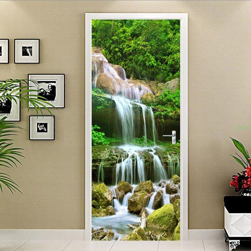 Pegatina autoadhesiva de puerta de PVC, papel tapiz de paisaje con cascadas en 3D para sala de estar, cocina, calcomanías impermeables para el hogar, pegatina de pared para puerta 3D