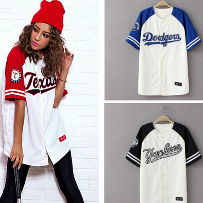 2016 verano Hip Hop moda béisbol Camiseta estilo coreano holgado Unisex manga larga Mujer