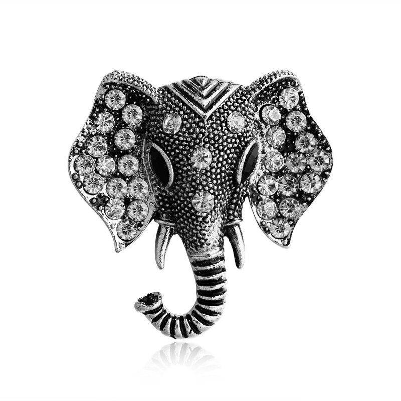 Broche de elefante de 1 pieza para hombre broche de diamantes de imitación vintage color plata bufanda hebilla pin up broches para joyería de mujer vestidos