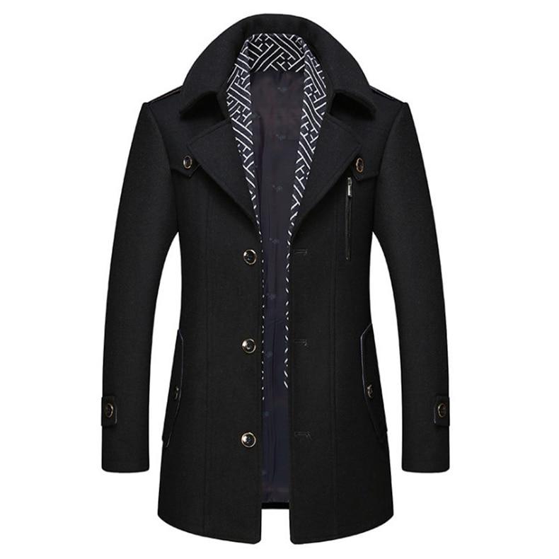 معطف رجالي جديد من صوف البوتيك, معطف رجالي خريفي وشتوي جديد قابل للفصل ، معطف صوف طويل للرجال ، جاكيت كاجوال من الصوف والمزيج