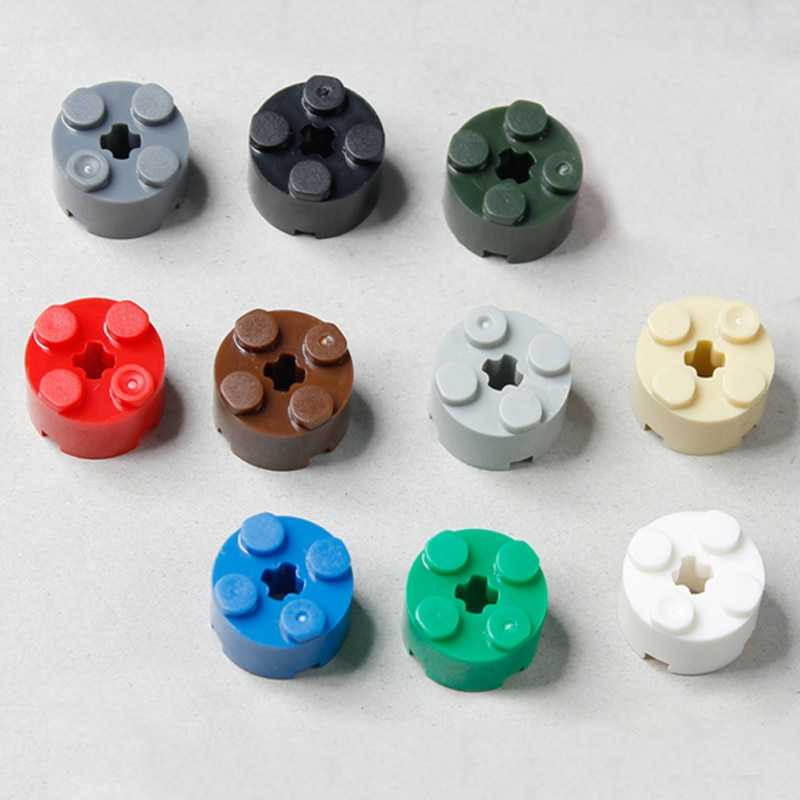 Bloques redondos de 50 Uds. 2x2 DIY, bloques de construcción de ladrillos de plástico claro, Legoedly compatibles con juguetes para niños, partículas de montaje