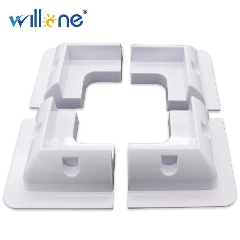 Willone-قوس تركيب لوحة شمسية مربعة بيضاء ، مجموعة روابط لاصقة (4 قطع)