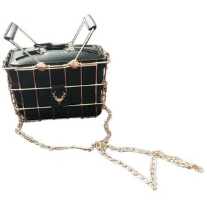 Fashion Designer Women Handbags New High-Quality PU Leather Women Bag Iron Basket Square Bag Chain Shoulder Messenger Bag(Blac
