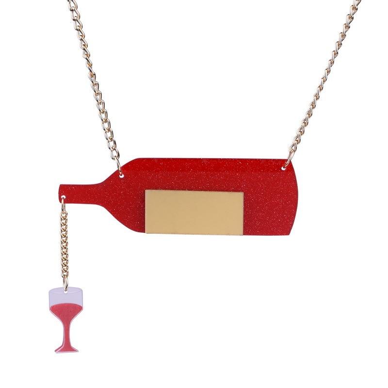 Nuevos exagerados, moda, botella de vino tinto, cadena dorada, colgante de acrílico, collar de copa de vino tinto a la moda, joyería para mujer 2019