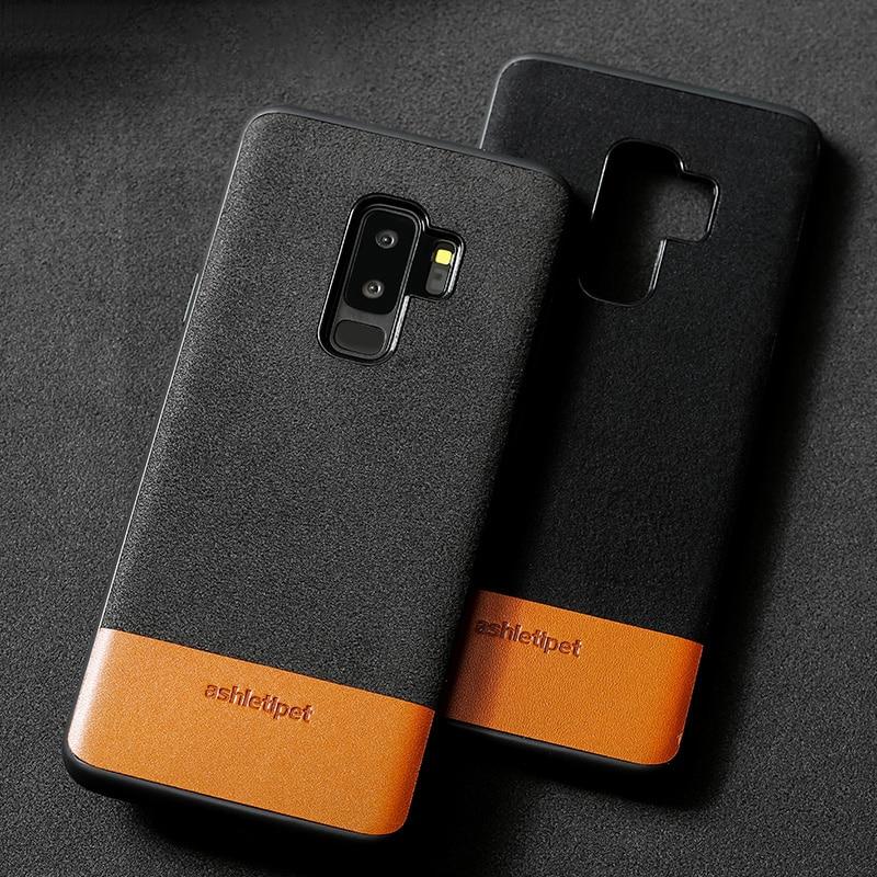 Teléfono funda para Samsung Galaxy S7 S8 S9 caso costura de Gamuza aceite cera funda trasera de piel para la nota 8 9 A5 A7 A8 J5 J7 2017