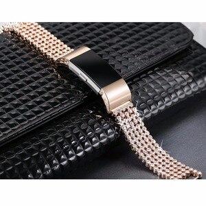 KZfashion fitbit charge2 Smart Watch Diamond Steel Strap For Woman