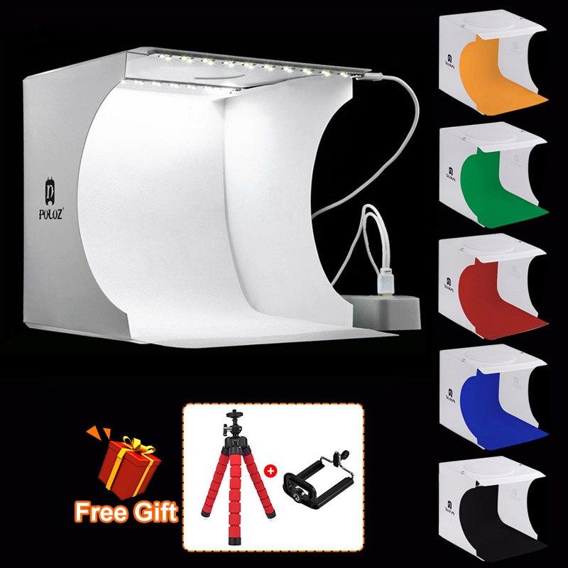 PULUZ 20*20cm 8 Mini Estudio plegable caja de luz suave difusa con luz LED negro blanco fotografía Fondo caja de estudio fotográfico