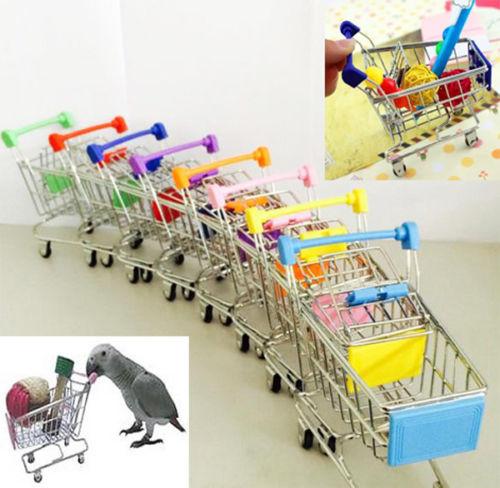 Mini carrito de compras de supermercado, colorido, divertido, para mascotas, pájaros, loros, hámster, juguete, nuevo, venta al por mayor