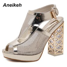 Aneikeh 2019 New Summer Sandal Sexy Golden Bling Gladiator Sandals Women Pumps Shoes Fashion High Heels  Sandals Boots