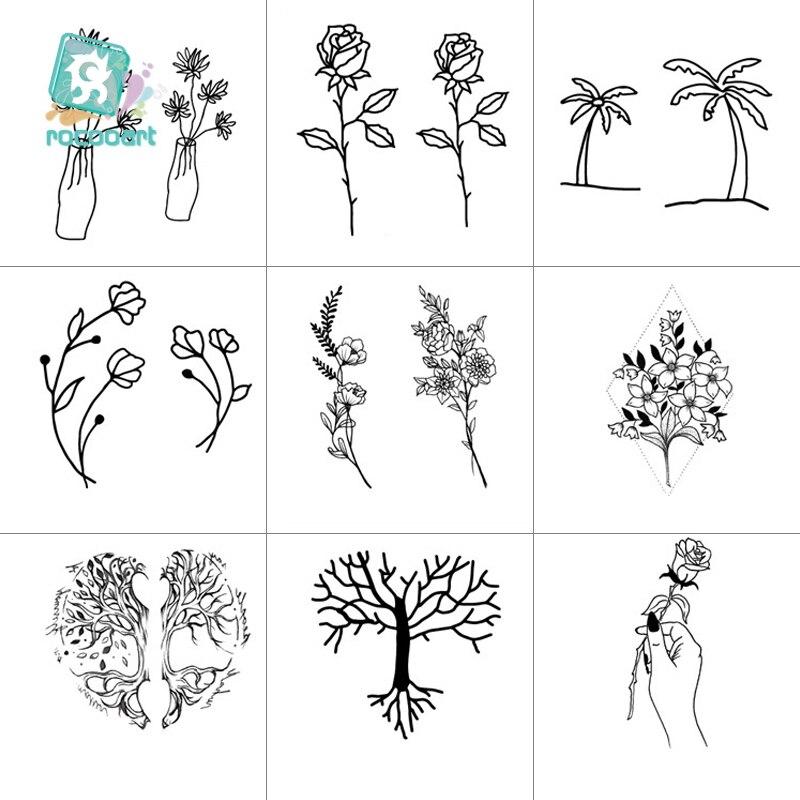 Rocooart venda quente preto branco estilo tatuagem adesivo árvore flor folha temporária tatuagem adesivo rosa arte do corpo tatouage falso tatoo
