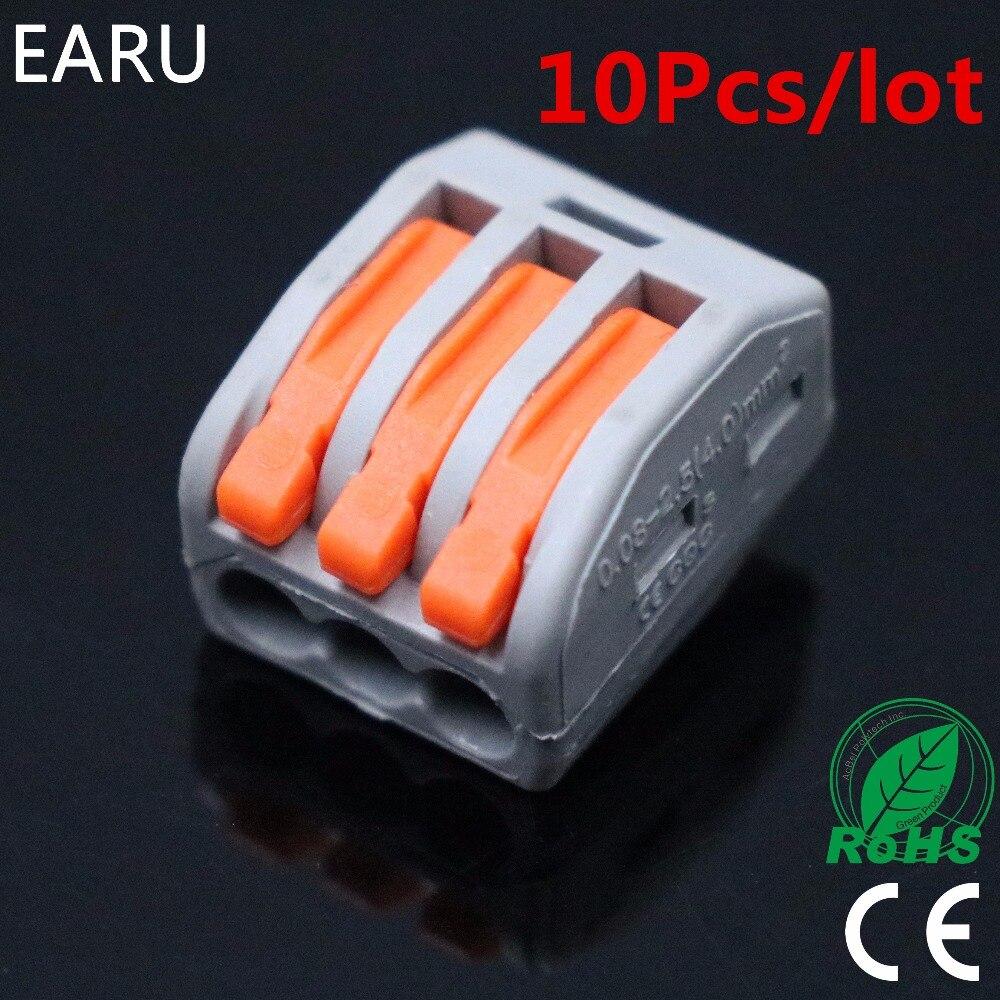 10 piezas PCT-213 PCT213 222-413 conector de cableado de cable compacto Universal bloque de conectores de 3 pines con palanca AWG 28-12