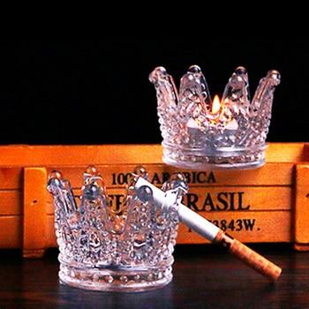 Ashtray Beautiful Decor Round Transparent Glass Cigar Accessory Tool Cigar Ashtray Herb Cigar Tray Ashtray for Home Bar